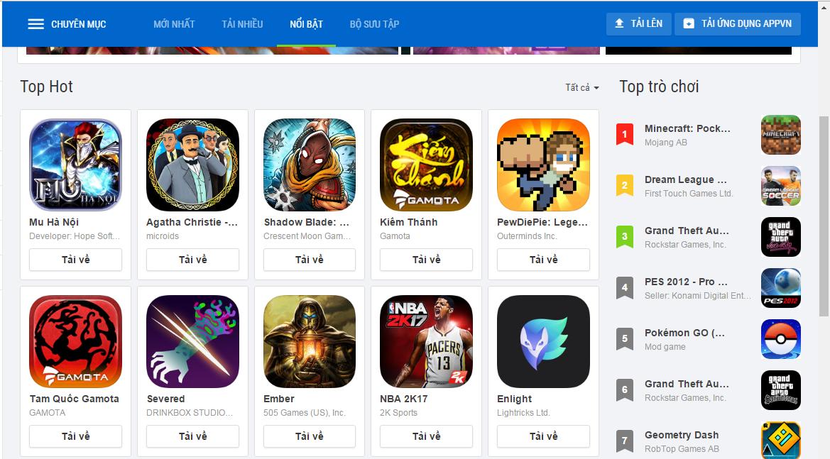 Appvn là kho ứng dụng tải game miễn phí với tốc độ cao và nhanh