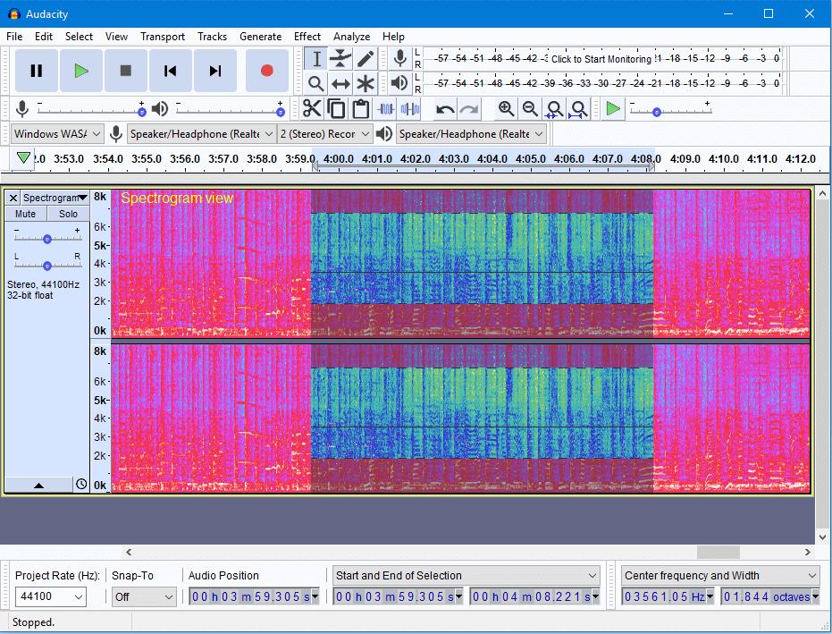 Audacity trong chế độ xem Spectrogram (với lựa chọn quang phổ) trên Windows 10