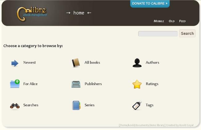 Phần mềm Calibre để điều hành tất cả các thông tin thư viện