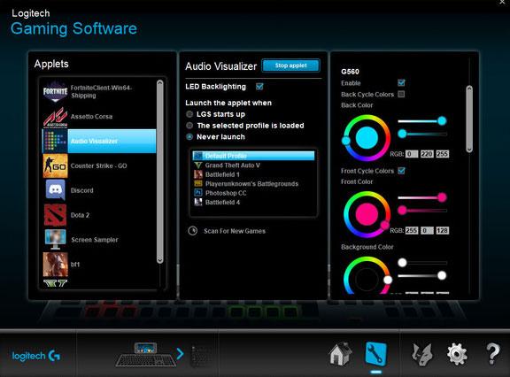 Giao diện phần mềm Logitech Gaming Software