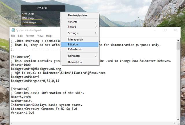 Rainmeter cho phép sửa các dòng code