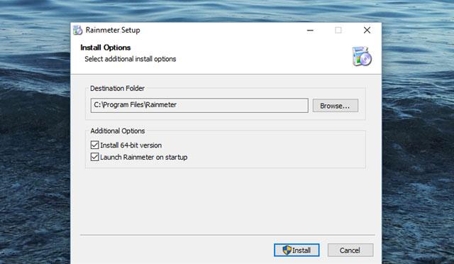 Nhấn install đẻ cài đặt phần mềm rainmeter