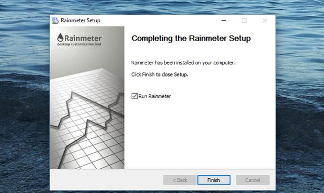 Hình trên thể hiện đã cài đặt phần mềm rainmeter hoàn tất