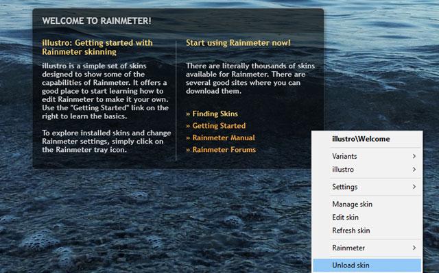 Các tùy chỉnh căn bản của phần mềm rainmeter