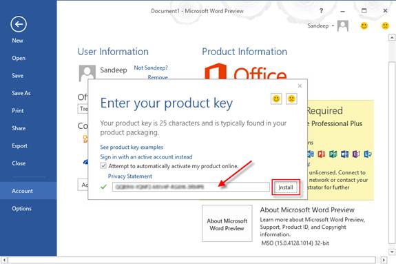 Sử dụng key office 2013 để kích hoạt, active bản quyền
