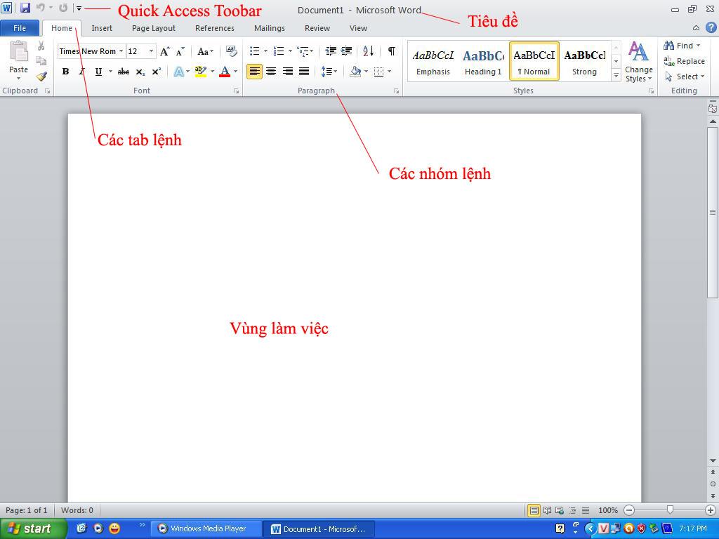 Giao diện làm việc của Microsoft Word 2010