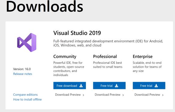 Download và cài đặt Visual Studio 2019