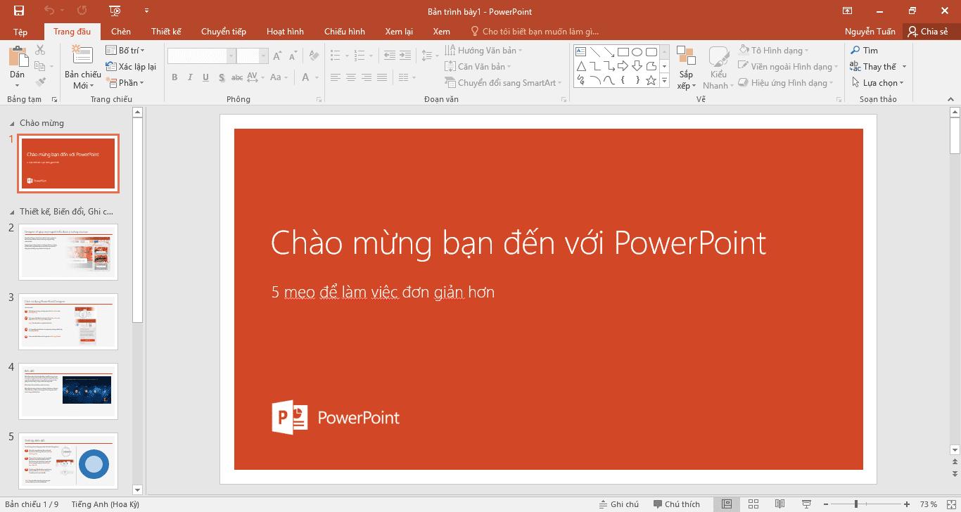Giao diện làm việc của powerpoint 2016